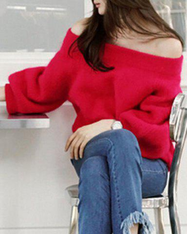 Unique Stylish Off-The-Shoulder Long Sleeve Solid Color Loose Women's Sweater