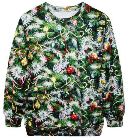 Chic Stylish Round Neck Long Sleeve Bell and Tree Print Women's Christmas Sweatshirt GREEN ONE SIZE(FIT SIZE XS TO M)