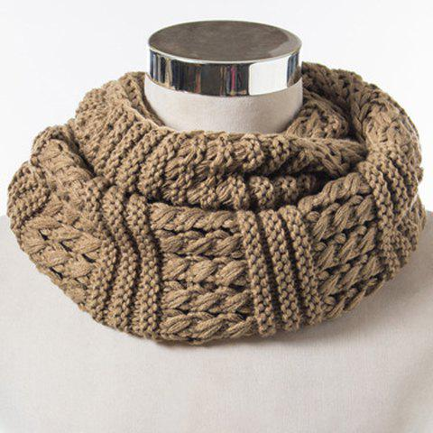 Fancy Chic Solid Color Loop Stripy Knitted Infinity Chunky Scarf For Women KHAKI