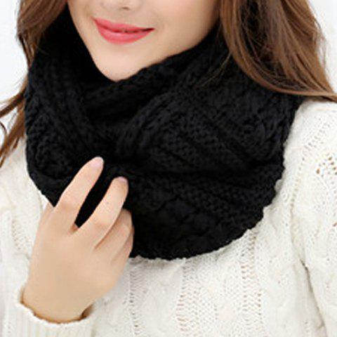 Store Chic Solid Color Loop Stripy Knitted Infinity Chunky Scarf For Women