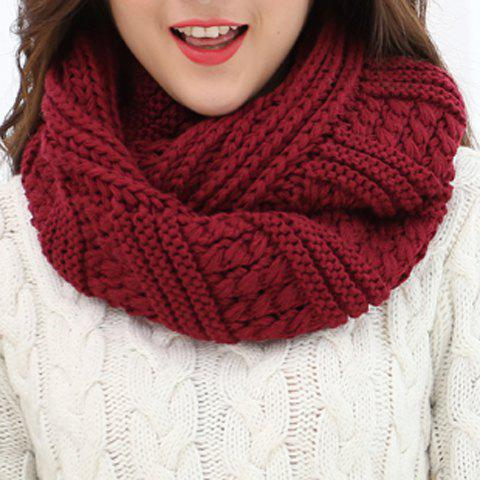 Cheap Chic Solid Color Loop Stripy Knitted Infinity Chunky Scarf For Women