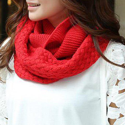 Hot Chic Solid Color Crocheting Knitted Infinity Chunky Scarf For Women RED