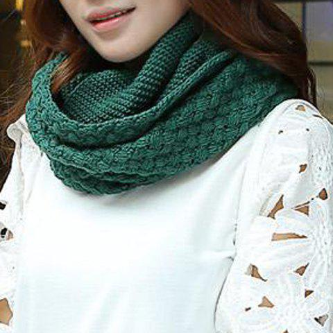 New Chic Solid Color Crocheting Knitted Infinity Chunky Scarf For Women BLACKISH GREEN
