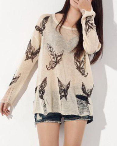 Unique Fashionable Women's Butterfly Print Ripped Long Sleeve Scoop Neck Sweater