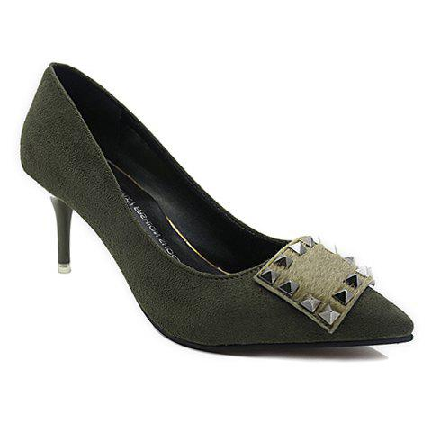 Online Office Lady Rivet and Suede Design Women's Pumps