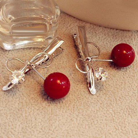 Buy Dolce Faux Pearl Rhinestone Bowknot Hairpin For Women - RED  Mobile