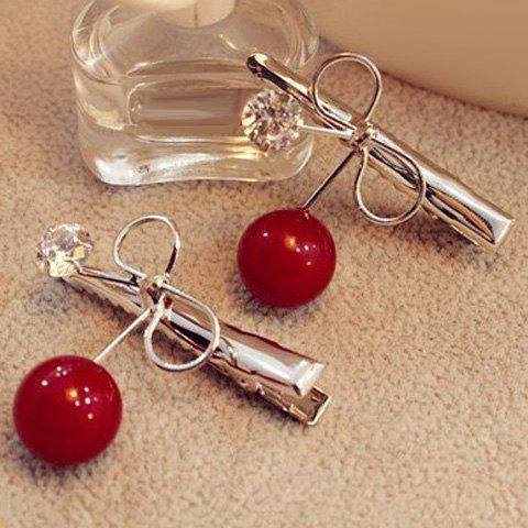 Trendy Dolce Faux Pearl Rhinestone Bowknot Hairpin For Women - RED  Mobile