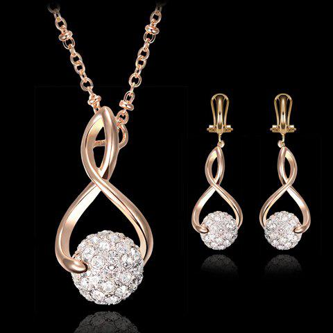 Fashion A Suit of Delicate Rhinestoned Ball Shape Hollow Out Eight Necklace and Earrings For Women GOLDEN