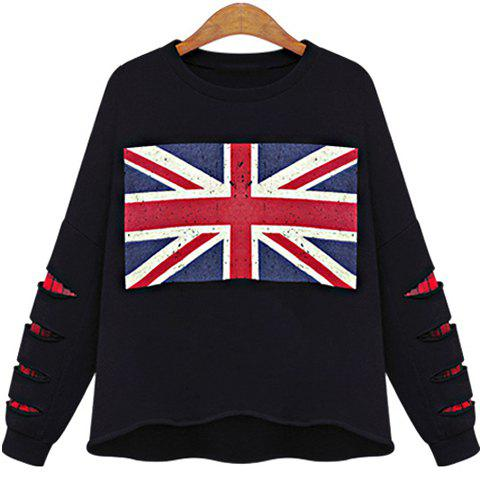 Trendy Round Neck Long Sleeve Union Jack Pattern Ripped Women's Sweatshirt - Black - Xl
