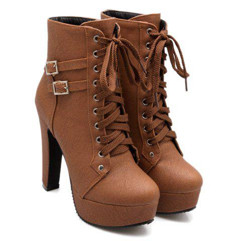 Unique Concise Buckles and Pure Color Design Women's Lace Up Boots