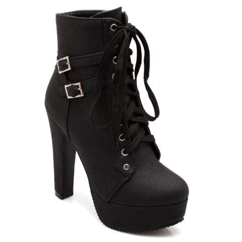 New Concise Buckles and Pure Color Design Women's Lace Up Boots - 38 BLACK Mobile