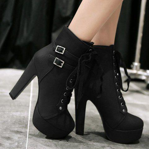 Trendy Concise Buckles and Pure Color Design Women's Lace Up Boots - 38 BLACK Mobile