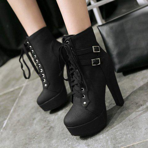 Outfit Concise Buckles and Pure Color Design Women's Lace Up Boots - 38 BLACK Mobile