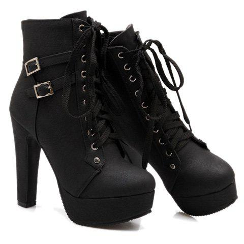 Chic Concise Buckles and Pure Color Design Women's Lace Up Boots - 38 BLACK Mobile
