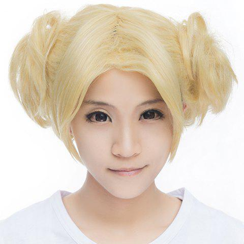 Buy Cute Light Blonde Short With Bunches Vogue Fluffy Wavy Synthetic Naruto Temari Style Cosplay Wig