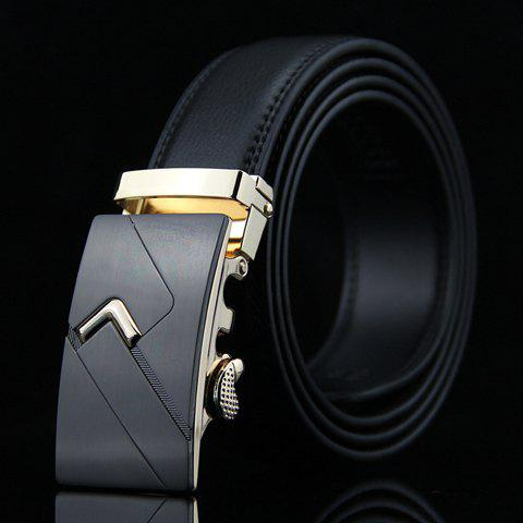Store Stylish Arrow Shape Embellished Auto Buckle Wide Belt For Men - BLACK  Mobile