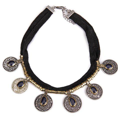 Discount Vintage Faux Crystal Coin Necklace