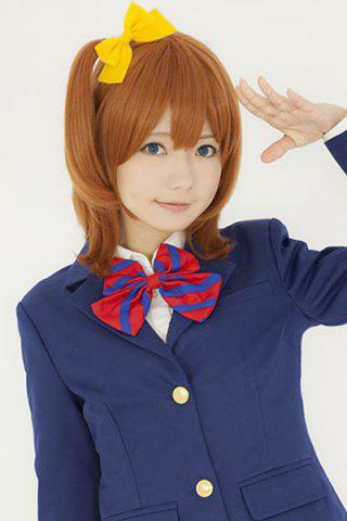 Chic Sweet Medium Light Brown Fashion Natural Straight With Ponytail Honoka Kousaka Style Cosplay Wig
