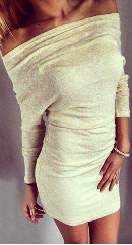 Off The Shoulder Long Sleeve Solid Color Bodycon Knitted Dress 159458403