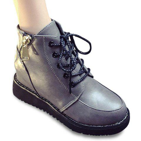 Shop Fashion Lace-Up and Zip Design Women's Short Boots