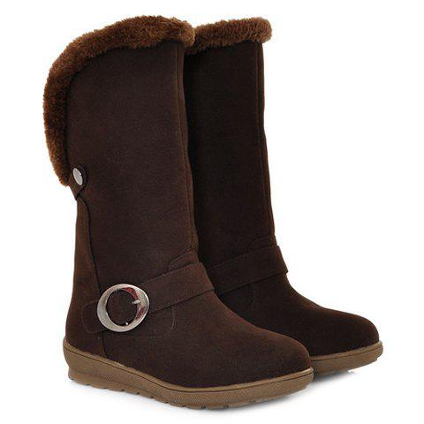 Outfits Concise Buckle and Fold Over Design Women's Mid-Calf Boots