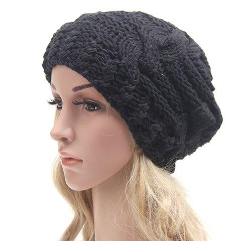 Cheap Chic Solid Color Hemp Flowers Slouchy Knitted Beanie For Women
