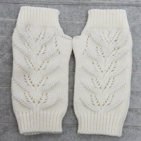 Buy Pair of Chic Hollow Out Crochet Knitted Fingerless Gloves For Women WHITE