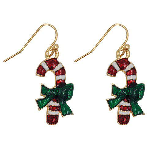 Outfits Pair of Graceful Candy Cane Shape Christmas Earrings Jewelry For Women