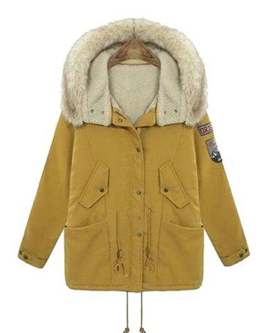 Casual Hooded Applique Long Sleeve Padded Coat For Women - Yellow - 4xl