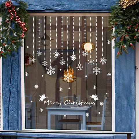 Removeable Snowflake Curtain Pattern Wall Sticks Christmas Decoration - WHITE