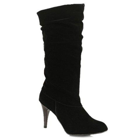 Outfits Stylish Stiletto Heel and Pure Colour Design Women's Mid-Calf Boots