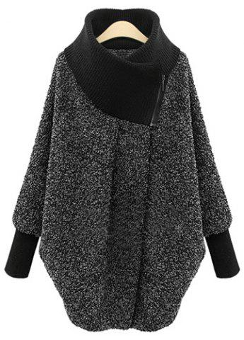 Affordable Women's Chic Splicing Long Sleeve Turtleneck Coat GRAY L