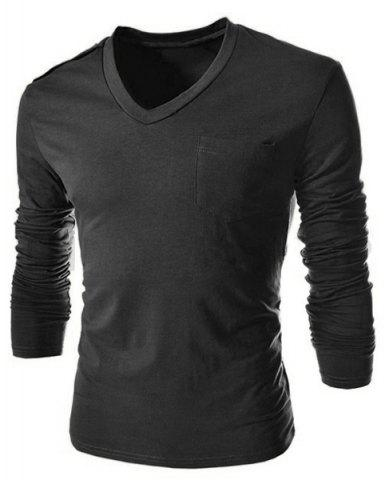 Shop Single-Breasted Shoulder Design One Pocket Solid Color V-Neck Long Sleeves Men's Slim Fit T-Shirt DEEP GRAY 2XL