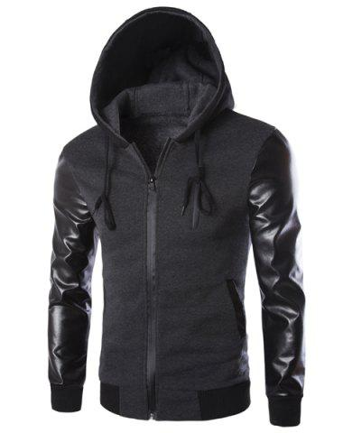 Vogue Drawstring Hooded PU Leather Spliced Zipper Design Long Sleeves Men's Slimming Jacket - Deep Gray - Xl