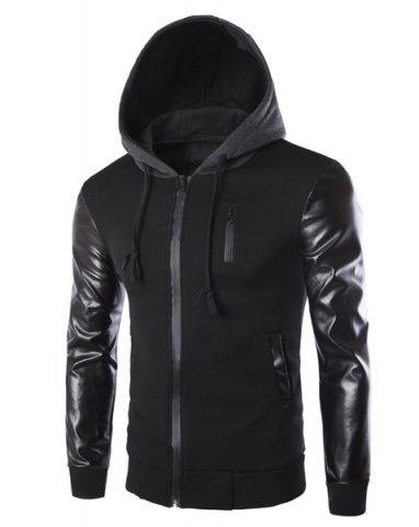 Chic Vogue Drawstring Hooded PU Leather Spliced Zipper Design Long Sleeves Men's Slimming Jacket