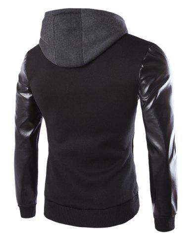 Store Vogue Drawstring Hooded PU Leather Spliced Zipper Design Long Sleeves Men's Slimming Jacket - 2XL BLACK Mobile