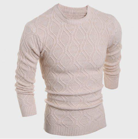 Buy Round Neck Solid Color Argyle Pattern Long Sleeve Men's Sweater