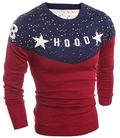 Shops Round Neck Letter and Star Print Splicing Design Long Sleeve Men's Sweater