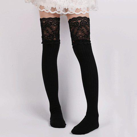 Outfit Pair of Chic Lace Edge Solid Color Knitted Stockings For Women