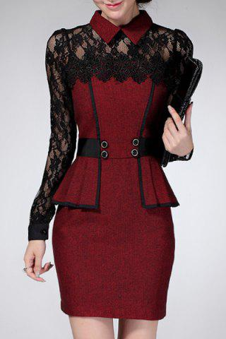 Chic Flat Collar Long Sleeve Lace Design Flounced Women's Dress