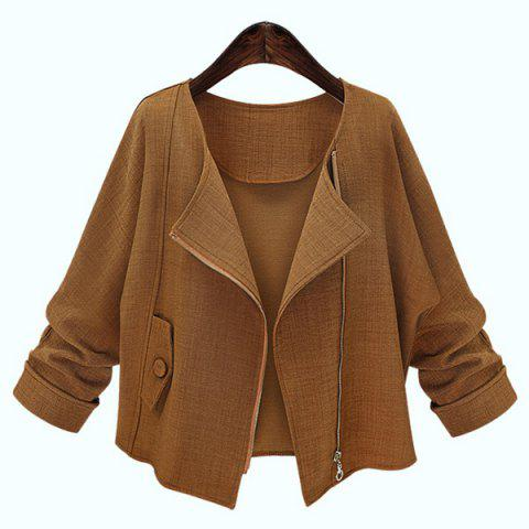 Hot Simple Style Long Sleeve Pure Color Jacket For Women DEEP BROWN XL