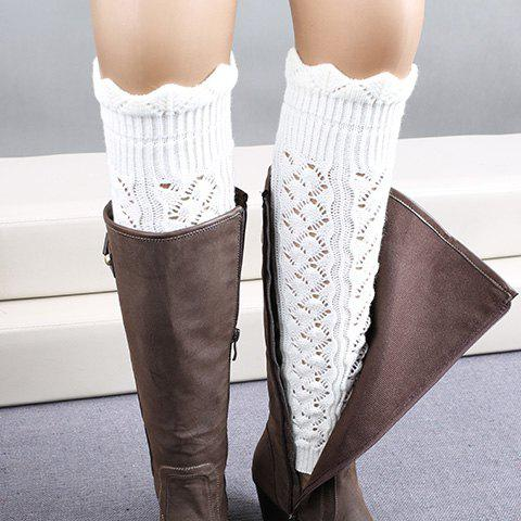 Shops Pair of Chic Wavy Edge Hollow Out Knitted Leg Warmers For Women