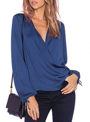 Sexy Plunging Neck Long Sleeve Solid Color Chiffon Women's Blouse - Blue - Xl