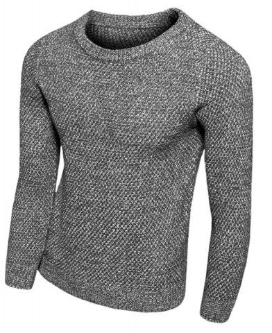 Fashion Knitting Round Neck Solid Color Slimming Long Sleeve Men's Sweater DEEP GRAY M