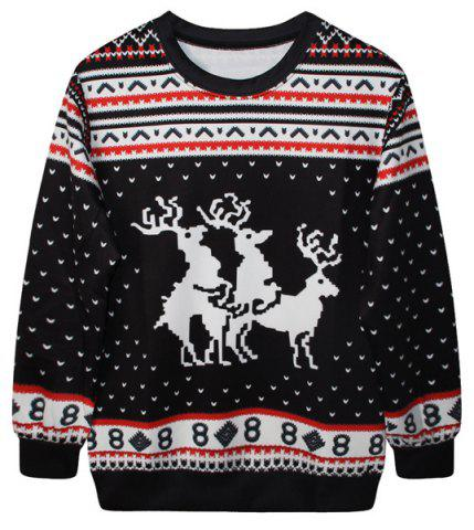 Latest Cute Round Neck Fawn Print Long Sleeve Christmas Sweatshirt For Women BLACK ONE SIZE(FIT SIZE XS TO M)