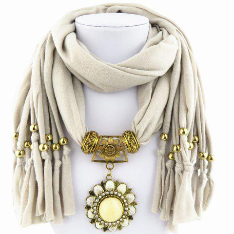 Store Chic Rhinestone and Flower Pendant Embellished Jewelry Scarf For Women