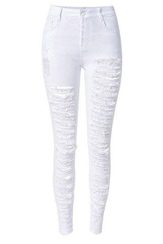Affordable Chic High-Waisted Broken Hole Design Solid Color Women's Jeans