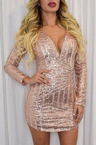 Image of Plunging Neck Long Sleeve Bodycon Sequined Dress