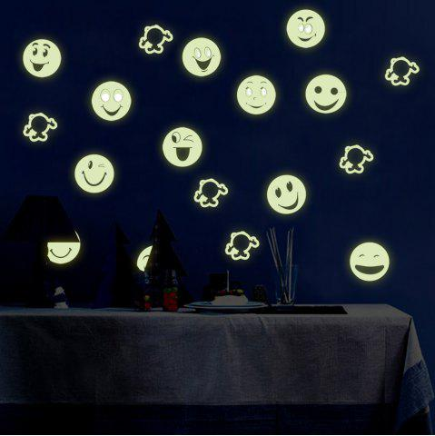 Colorful Cartoon Smiling Face Style Fluorescent Wall Stickers Funny Luminous Wallpaper for Home Decorations - COLORFUL