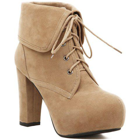 Image of Chunky Heel Design Short Boots For Women